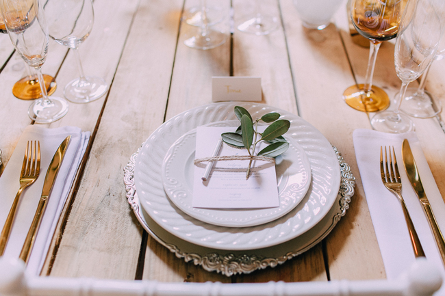 Silver and White Plate Stack with Gold Cutlery