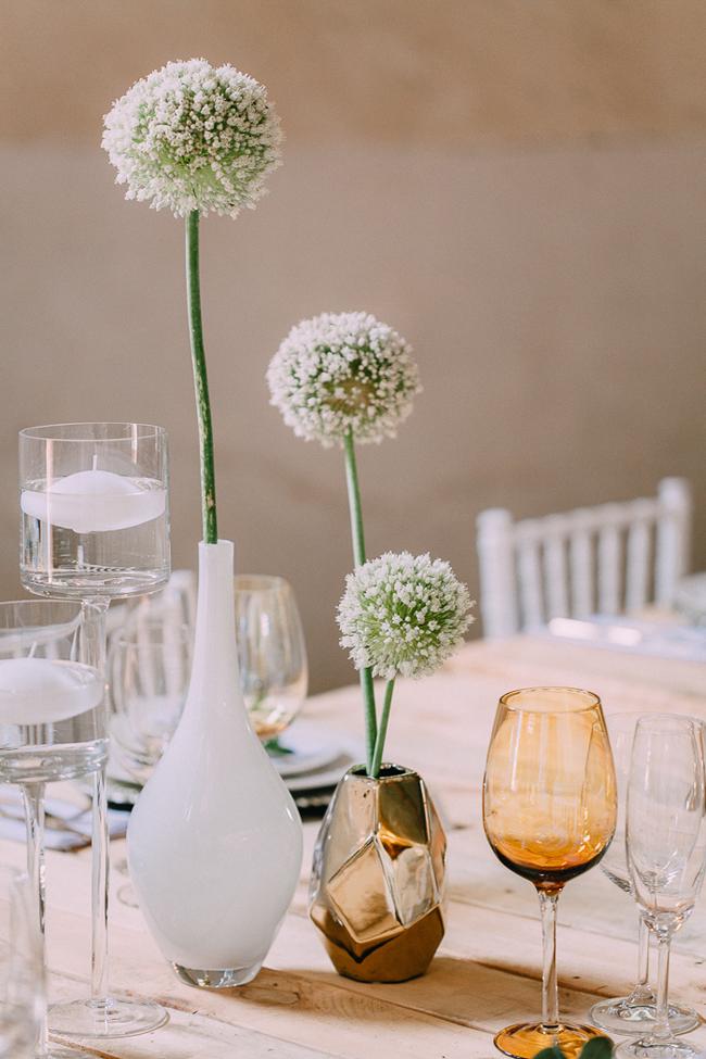 Gold Geometric Vase with White Flower