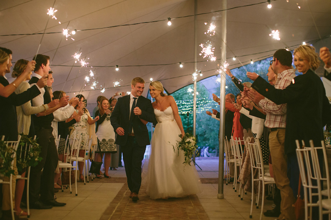 Bride and Groom Sparkler Send-off
