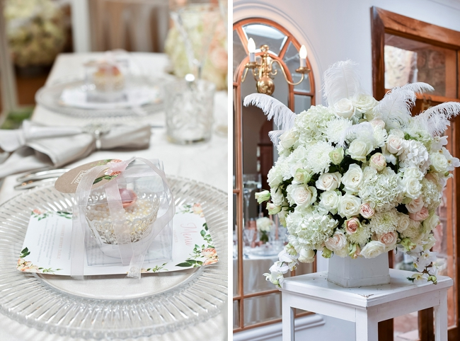 Rose and Feather Floral Arrangement at Shepstone Gardens