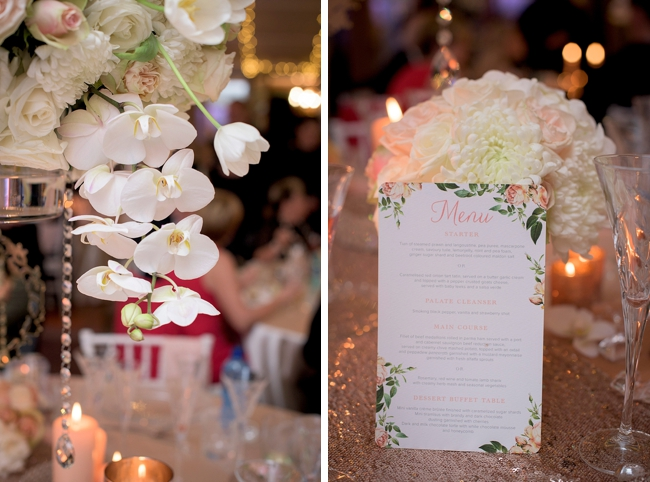 Rose Gold Sequins and White Orchid Arrangements