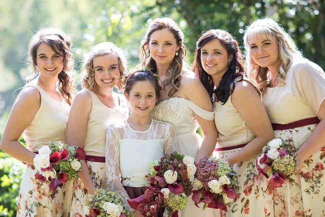 Marsala and Cream Bridesmaids Dresses