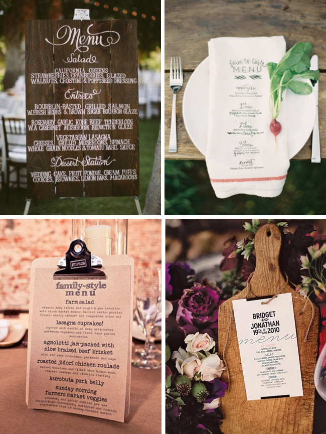 Farmers Market Wedding Ideas Menus