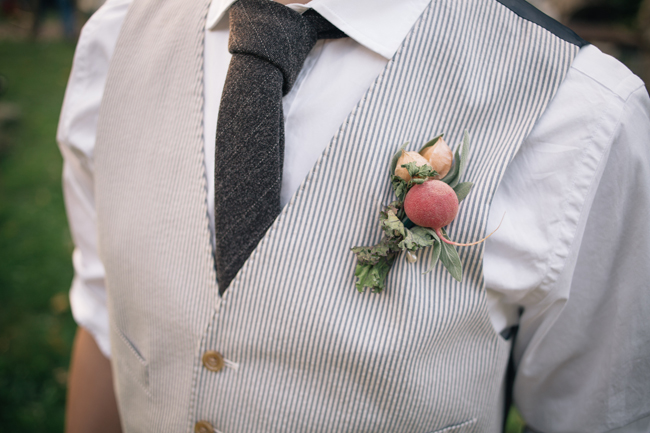 Farmers Market Wedding Ideas Veggie Boutonniere