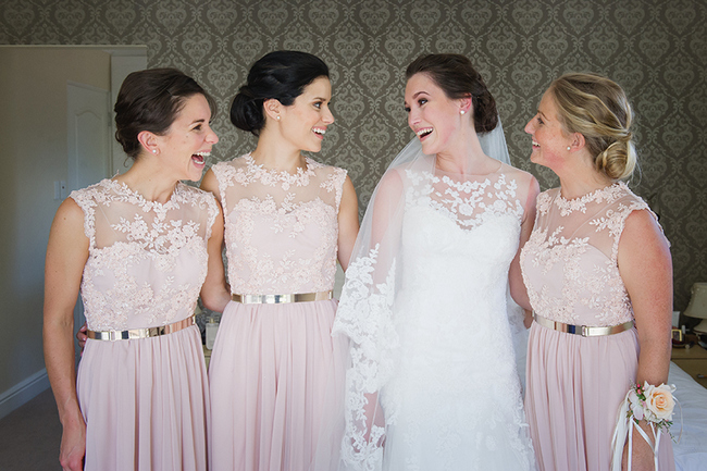 Blush and Gold Bridesmaids Dresses