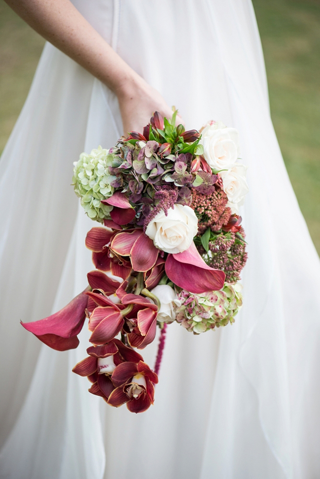 Cascading Marsala Bridal Bouquet