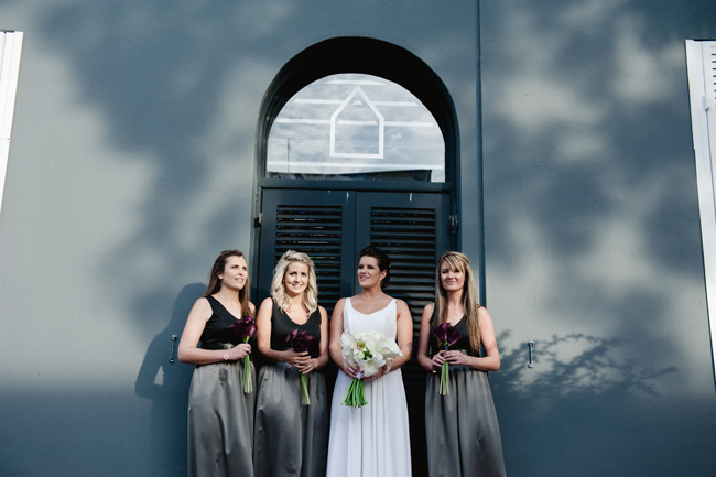 Bridesmaids with Black Lillies