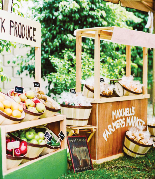 Farmers Market Wedding Ideas DIY Wooden Stalls