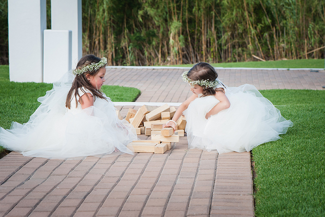 Flower Girls in White Playing Lawn Games