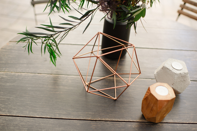 Bronze Geometric Wedding Decor