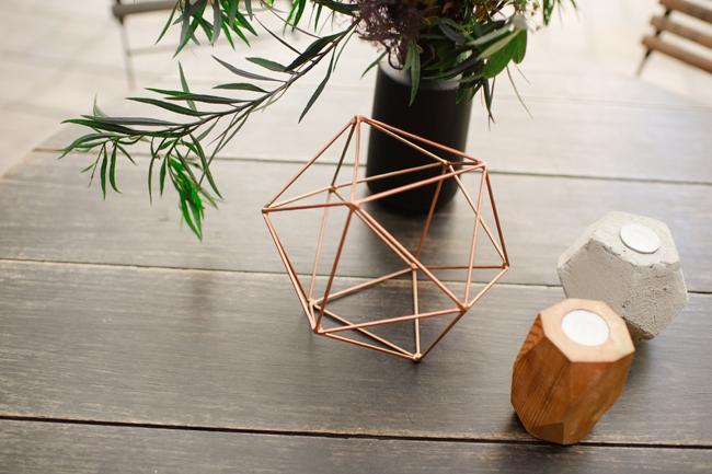 Bronze Geometric Wedding Decor