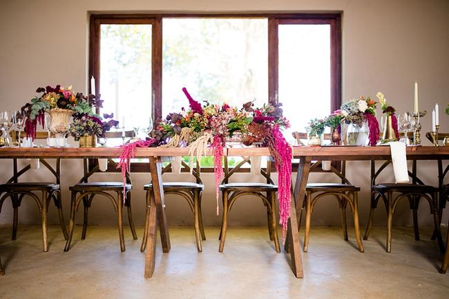 Luscious Cascading Floral Arrangements for Bridal Table
