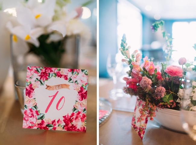 Pink Floral Printed Table Number