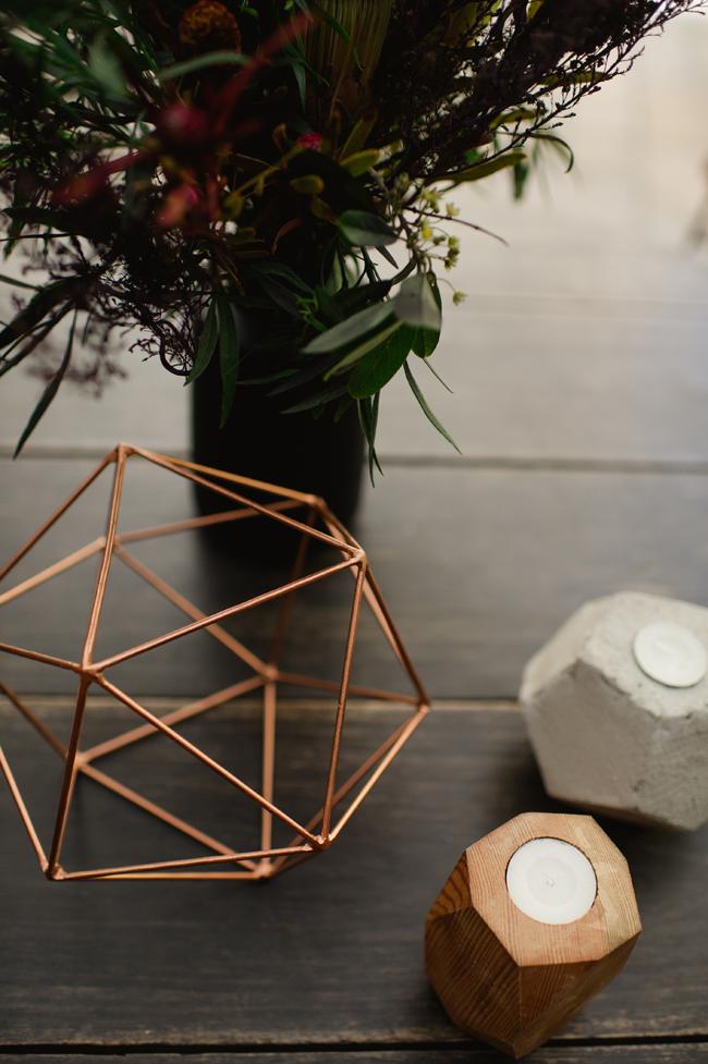 Modern Copper and Stone Wedding Decor