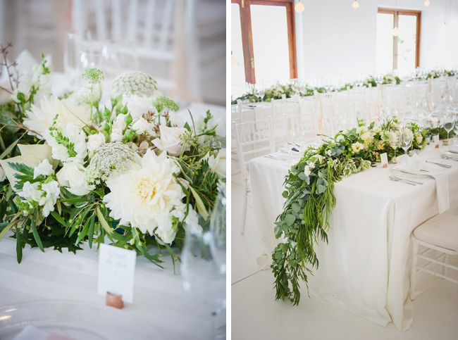 Cascading Greenery with White Florals