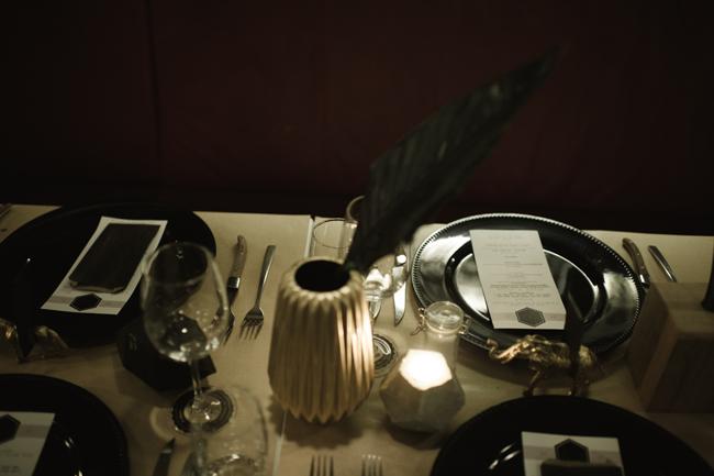 Modern Black and White Wedding Table Decor