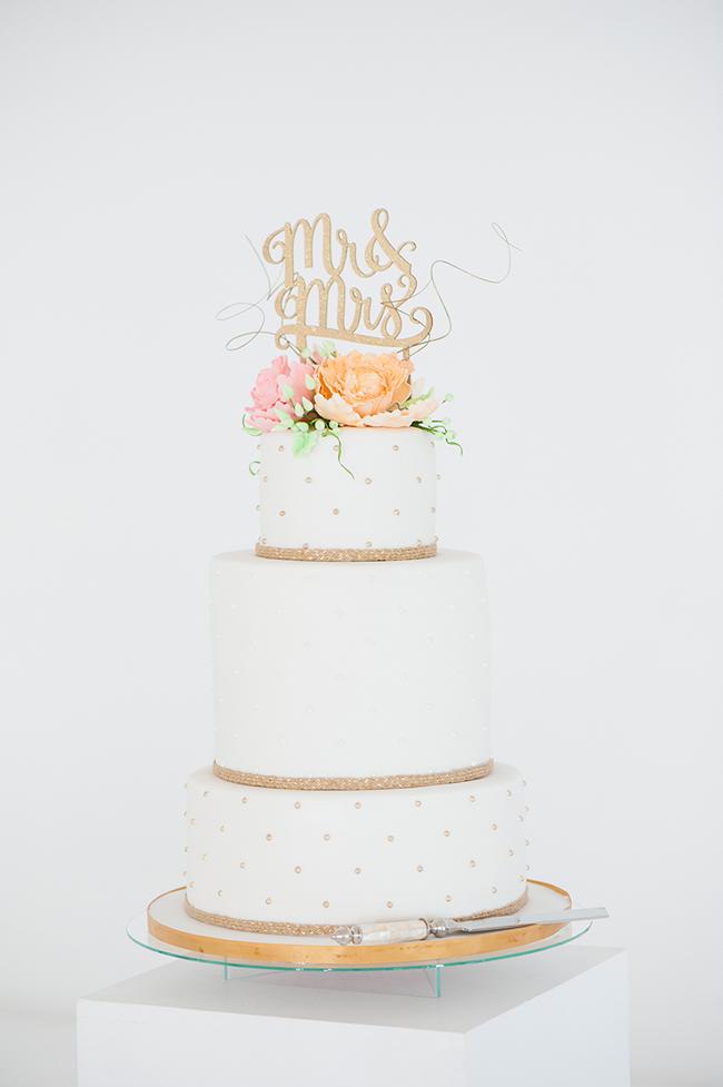 White and Gold Polkadot Wedding Cake