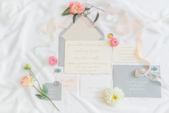 Modern romantic stationery suite | SouthBound Bride | Credit: Alexis June Weddings