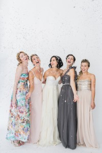 Bridesmaids with confetti | SouthBound Bride | Credit: Alexis June Weddings