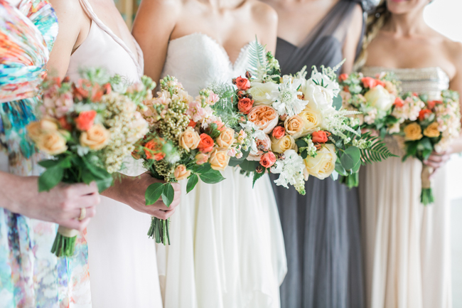 Colorful bouquets | SouthBound Bride | Credit: Alexis June Weddings