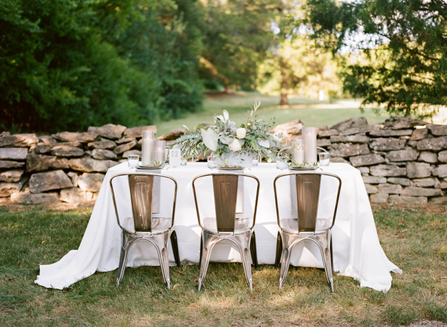 industrial wedding decor in outdoor setting