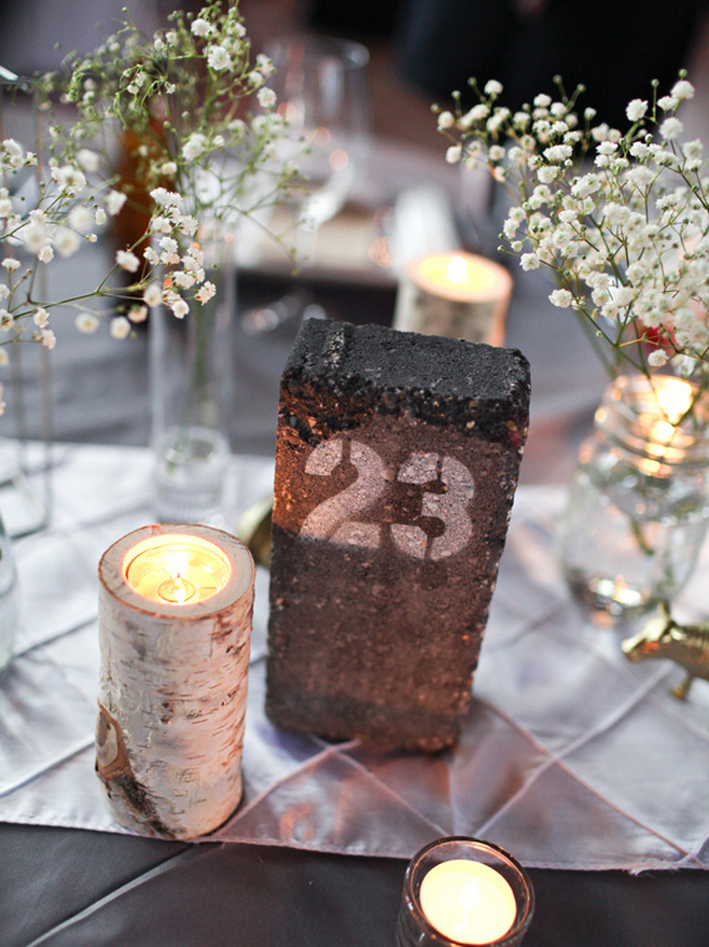 Industrial Chic Wedding Table Numbers