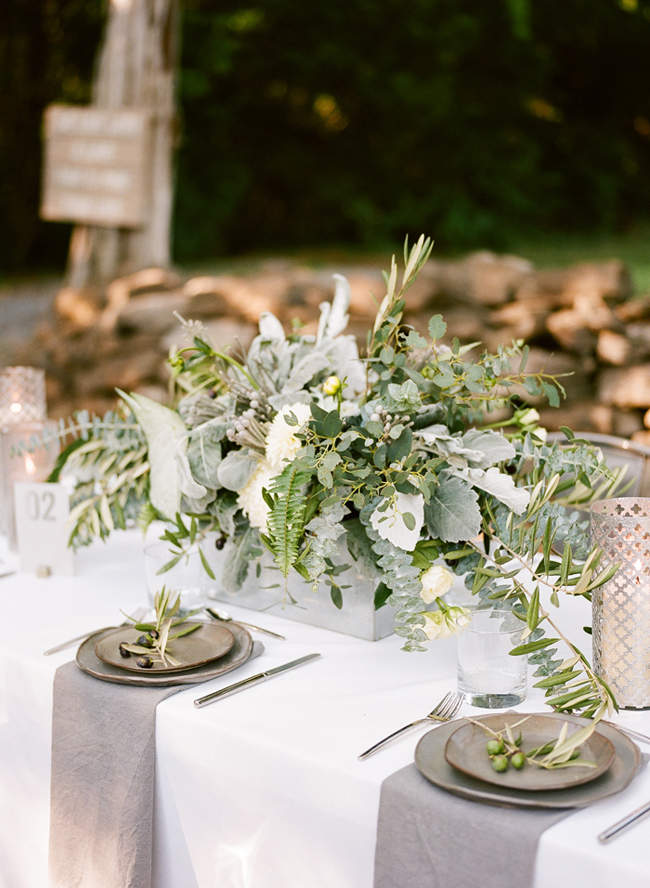 organic industrial wedding tablescape
