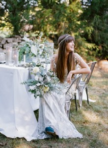 boho bride with industrial organic wedding table