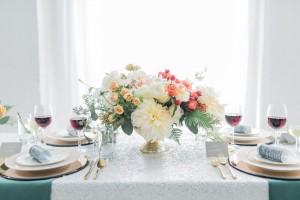 Peach & coral centerpiece | SouthBound Bride | Credit: Alexis June Weddings