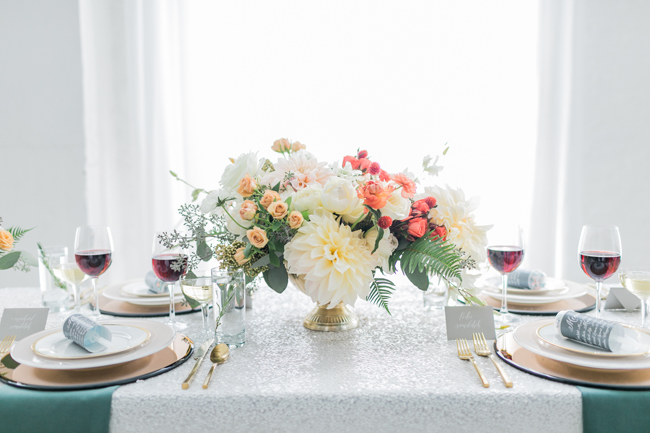 Peach & coral centerpiece | SouthBound Bride | Credit: Alexis June Weddings