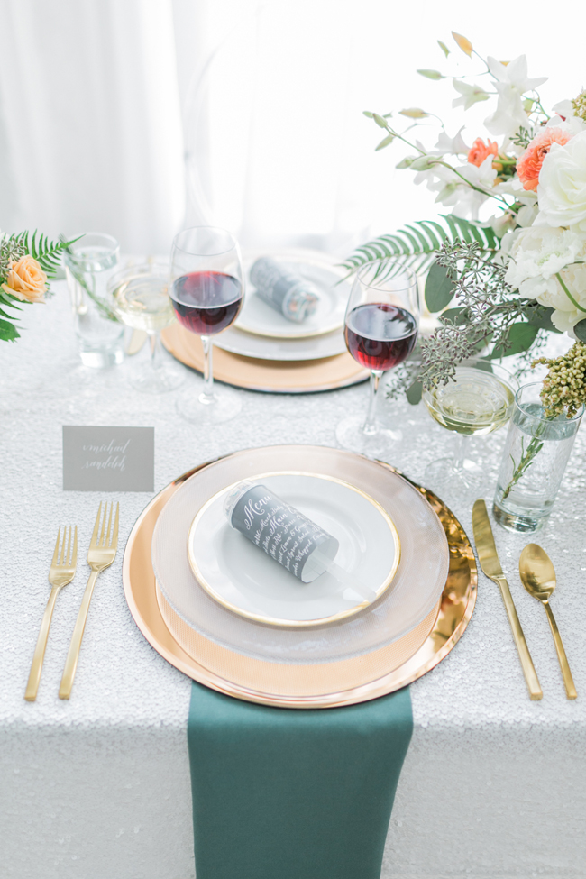 Tablescape with rose gold & teal | SouthBound Bride | Credit: Alexis June Weddings
