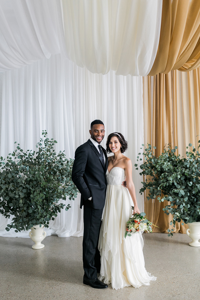 Aisle with draping | SouthBound Bride | Credit: Alexis June Weddings