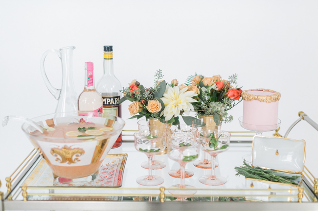 Pink & gold cocktail cart | SouthBound Bride | Credit: Alexis June Weddings