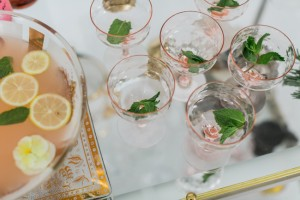 Blush champagne coupes | SouthBound Bride | Credit: Alexis June Weddings