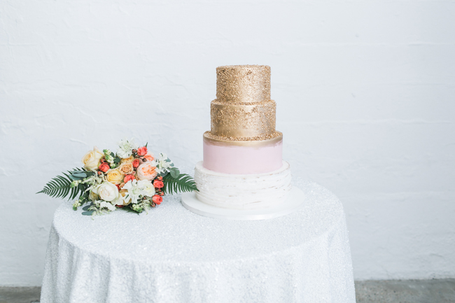 Pink & gold wedding cake | SouthBound Bride | Credit: Alexis June Weddings