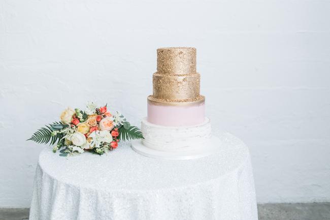 Pink & gold wedding cake | SouthBound Bride | Credit: Alexis June Weddings