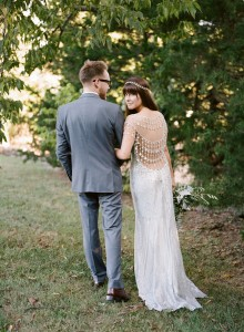 silver claire pettibone statement back wedding dress