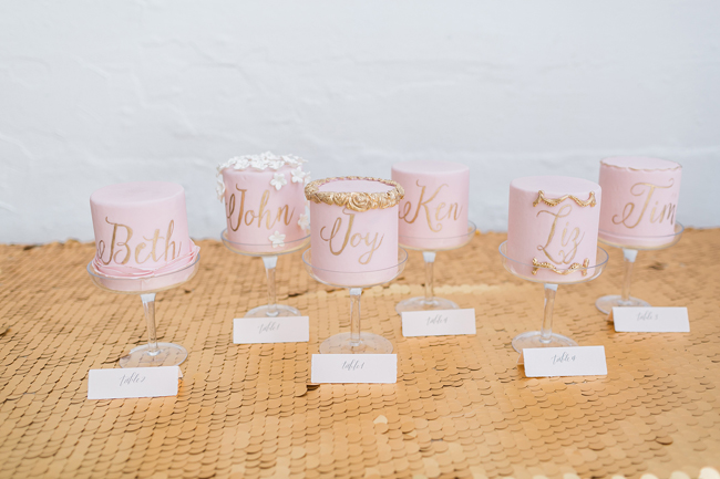 Pink mini wedding cakes | SouthBound Bride | Credit: Alexis June Weddings