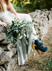 olive leaf bouquet and blue suede shoes