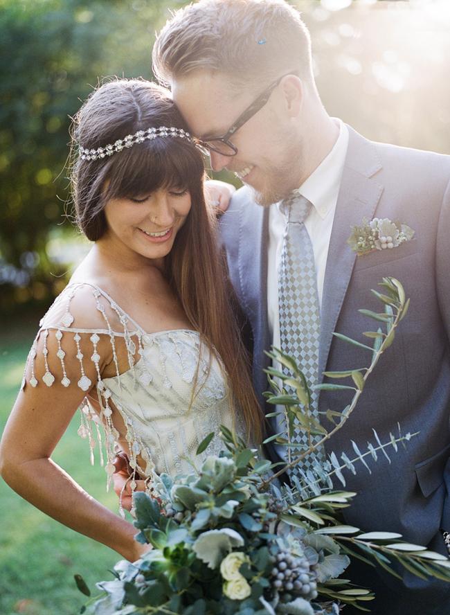 boho industrial bride and groom