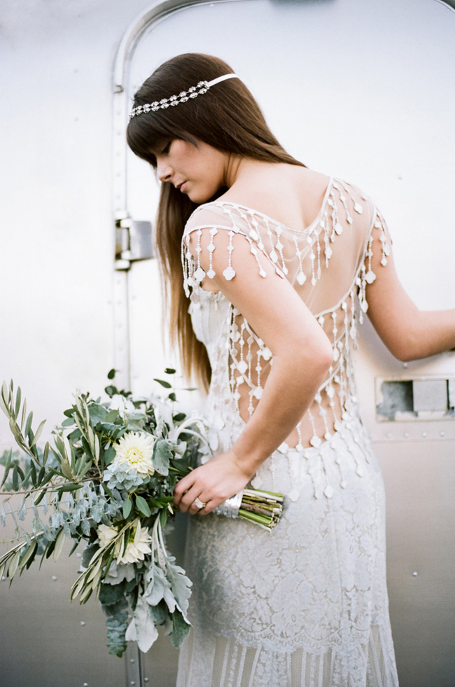 boho bride in claire pettibone wedding dress