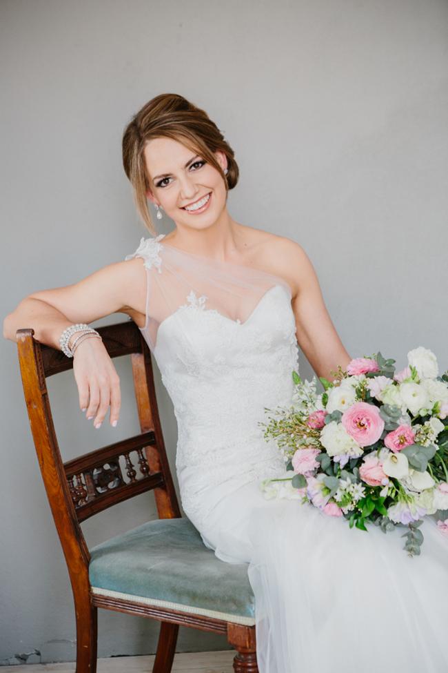 One Shoulder Illusion Neckline Wedding Dress | Credit: Carolien & Ben