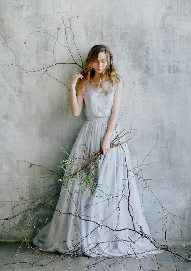 Grey Blue Wedding Dress