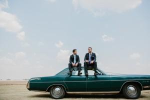 Groomsmen with Vintage Car | Credit: Carolien & Ben