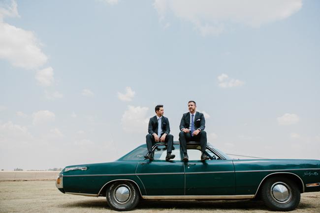 Groomsmen with Vintage Car   Credit: Carolien & Ben