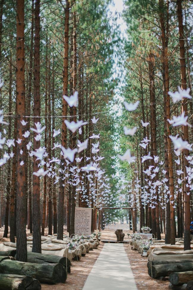 Forest Wedding Ceremony with Origami Cranes | Credit: Carolien & Ben | SouthBound Bride