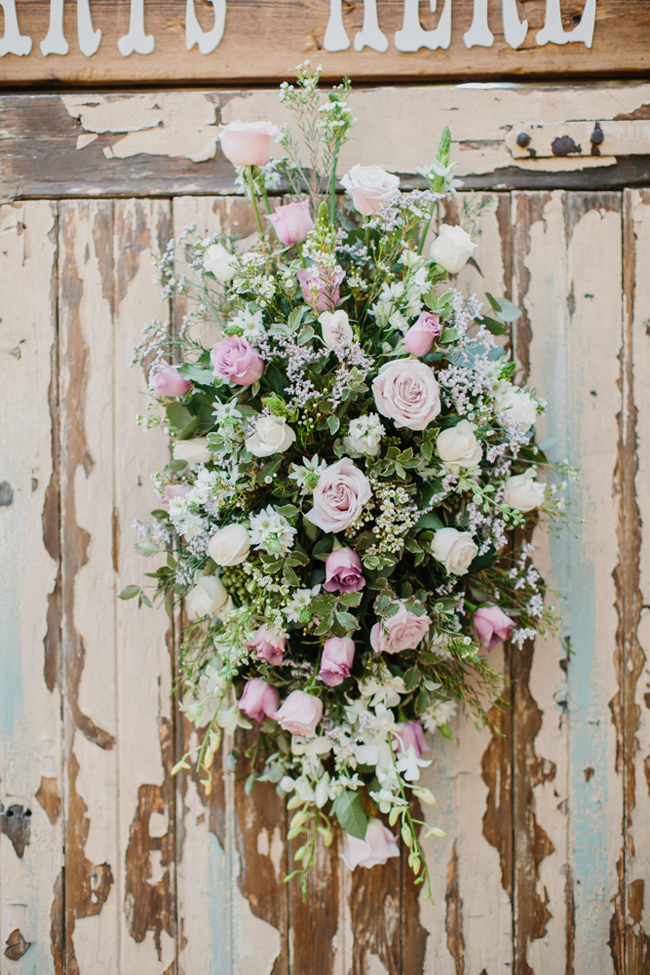 Rustic Wedding Pastel Floral Arrangement | Credit: Carolien & Ben