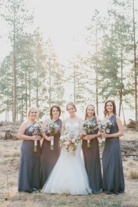 Long Grey Bridesmaid Dresses with Pastel Bouquet | Credit: Carolien & Ben