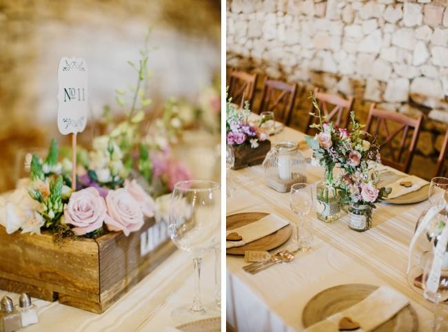 Rustic Pastel Wedding Centerpieces | Credit: Carolien & Ben