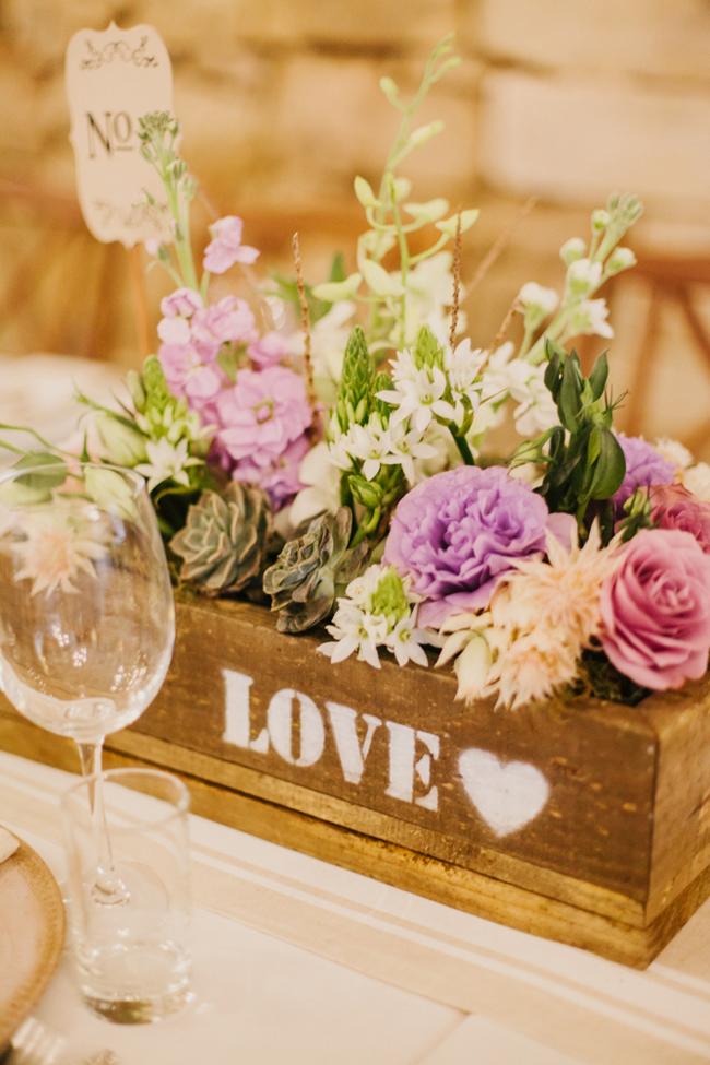 Rustic Wooden Box Wedding Decor   Credit: Carolien & Ben